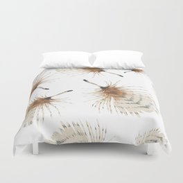 Delicate Brown Feather Seamless Pattern Duvet Cover