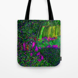 Abstract Wine Glass in Green Tote Bag