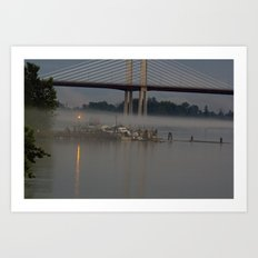 The fishing Dock on a misty evening Art Print