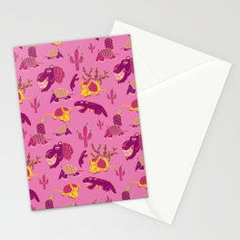 Desert Animals in Pink with Yellow Armadillo Stationery Cards