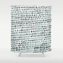 Teal and White Dots Pattern Shower Curtain