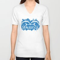 marine V-neck T-shirts featuring Marine by rKrovs