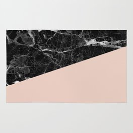 Black Marble and Pale Dogwood Color Rug