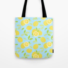 Bright And Sunny And Stamped Lemon Citrus Pattern Tote Bag