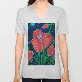 Stylized Red Poppies Unisex V-Neck