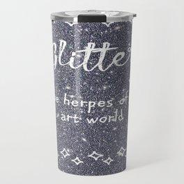 Quirky funny glitter - black Travel Mug
