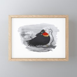 Red-Winged Blackbird Framed Mini Art Print