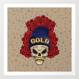MAD SKULL GOLD Art Print