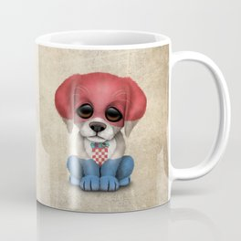 Cute Puppy Dog with flag of Croatia Coffee Mug