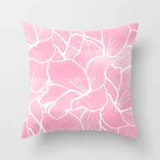 Modern white hand drawn abstrat floral pastel pink watercolor Throw Pillow