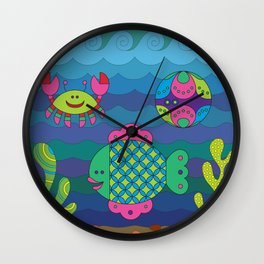 Stylize fantasy fishes under water. Wall Clock