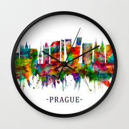 Prague Czech Republic Skyline Wall Clock