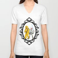 finn and jake V-neck T-shirts featuring Jedi Finn & Wookie Jake by createASAP