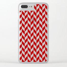 Red and White Herringbone Pattern Clear iPhone Case