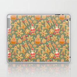 santa claus, gingerbread man, gifts and snowflakes christmas pattern Laptop & iPad Skin