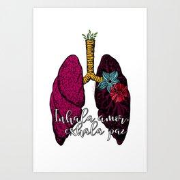 Inhala amor, Exhala paz Art Print