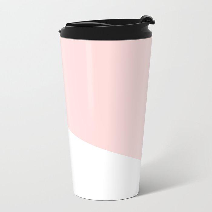 Urban Geometry Perfect Pink + White Metal Travel Mug