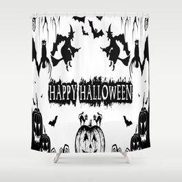 t-shirt happy haloween_By happy t-shirt halloween Shower Curtain