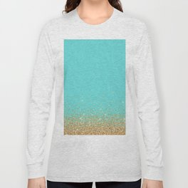 Sparkling gold glitter confetti on aqua teal damask background Long Sleeve T-shirt