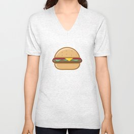 Burger Illustration Unisex V-Neck