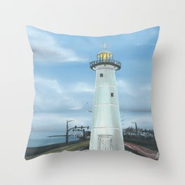 Biloxi Light house at evening Throw Pillow