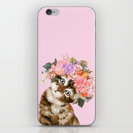 Baby Cat with Flower Crown iPhone Skin