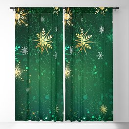 Gold Snowflakes on a Green Background Blackout Curtain