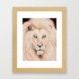 White Beige Lion Oil Painting Framed Art Print