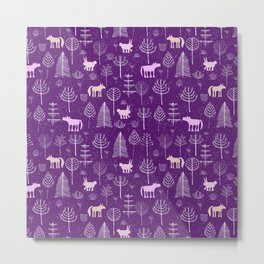 Modern hand painted violet pink white forest trees animals pattern Metal Print
