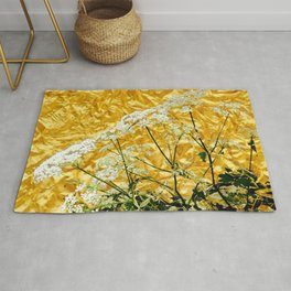 GOLDEN LACE FLOWERS FROM SOCIETY6 BY SHARLESART. Rug