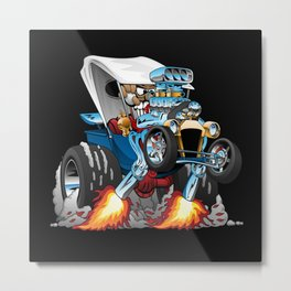 Custom T-bucket Roadster Hotrod Cartoon Illustration Metal Print