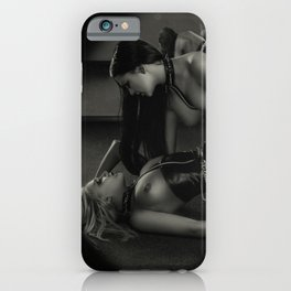 B&W Lesbian Foreplay iPhone Case