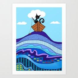 Cat  Fishing Art Print
