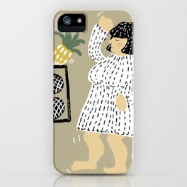 Woman dancing with pineapple iPhone Case