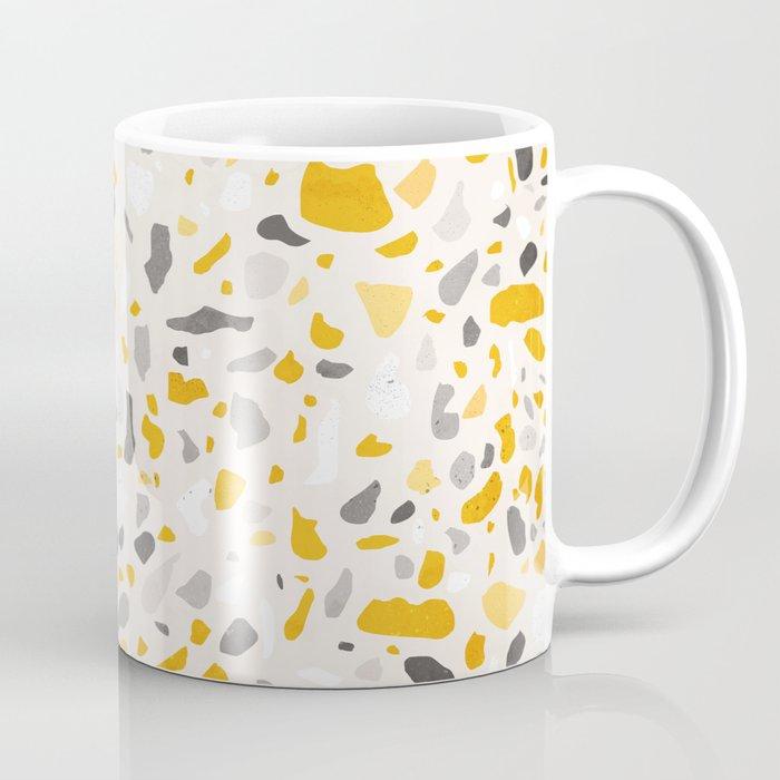 Terrazzo memphis vintage mustard yellow white grey black Coffee Mug