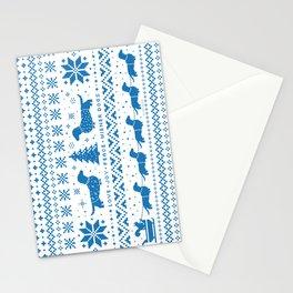 Love Joy Peace Wiener Dogs Blue Pattern Stationery Cards