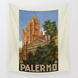 vintage Palermo Sicily Italian travel ad Wall Tapestry