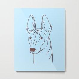 Xoloitzcuintli (Light Blue and Taupe) Metal Print