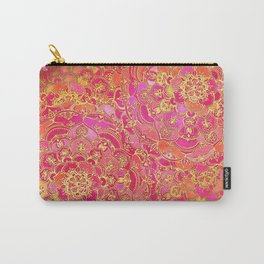 Hot Pink and Gold Baroque Floral Pattern Carry-All Pouch