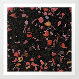 Black terrazzo and orange red Art Print