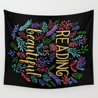 gold foil Wall Tapestries featuring Reading is Beautiful - Gold Foil by Evie Seo