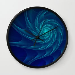 Aqua Blue Nautilus Sea Shell Wall Clock