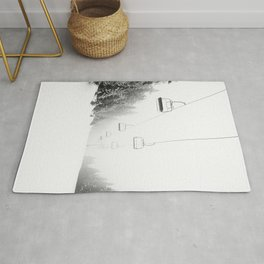 Snow Lift // Ski Chair Lift Colorado Mountains Black and White Snowboarding Vibes Photography Art Print Rug