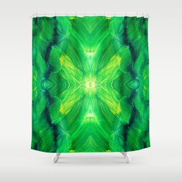 Brush play in hues of green 13 Shower Curtain