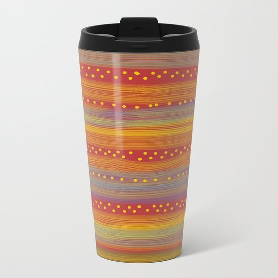 Red with Stripes and Dots Metal Travel Mug