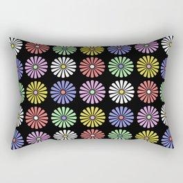 Pastel Flowers Pattern (On Black) Rectangular Pillow