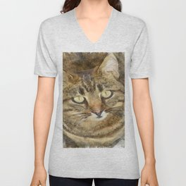 Cute Tabby Looking Up Unisex V-Neck