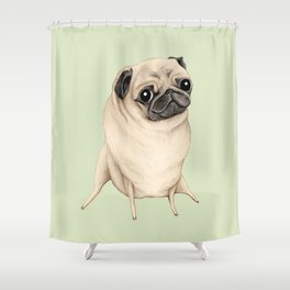 Sweet Fawn Pug Shower Curtain
