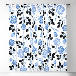 Spring Blues - Roses Blackout Curtain