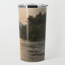 Fire Sunrise on McKenzie River Travel Mug
